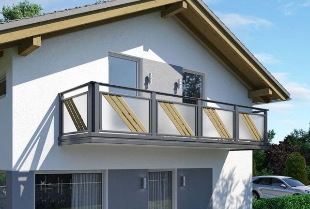 Modernes Balkongeländer Alu mit schrägen Latten und Glas-Füllung - Alubalkon Alu Design Larimar