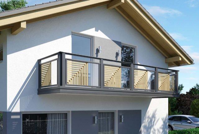Balkongeländer aus Aluminium und Glas in modernem Design - Alubalkon Alu Select Milano